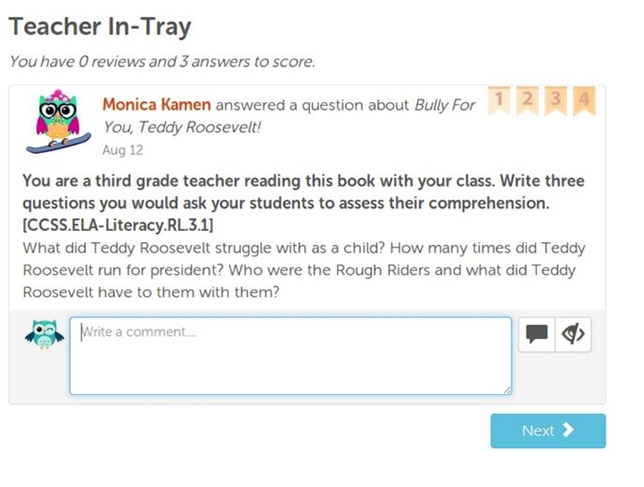 Whooo's Reading lets teachers track student reading comprehension skills from a smart device, post questions for specific books their students may be reading and run a class review newsfeed to allow students to share their book critiques with each other.