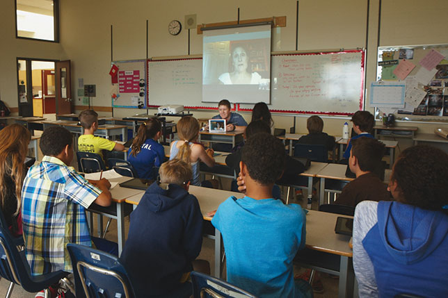 Classes at White Rock Elementary School connect with authors around the world by Skyping with their laptops and iPads.
