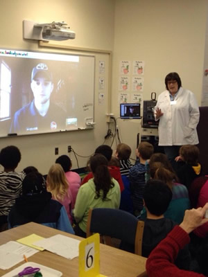 Dacia Jones leads a class in a Skype session with NASCAR Driver James Buescher.
