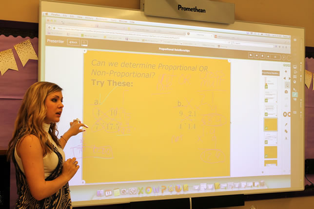 Jessi Toups uses a 102-inch-wide display in her classroom.