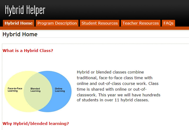 White Bear Lake High School's Hybrid Helper site is designed to be a