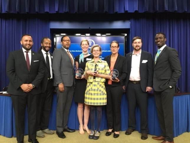 Recipients from W.B. Saul High School in Philadelphia, the CH2M Foundation and The Nature Conservancy show their award for a public-private partnership to teach STEM to high schoolers. Source: CH2M.