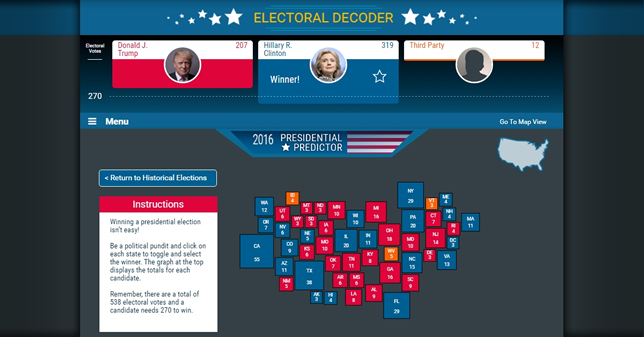 Election Central is designed to help students understand the Electoral College and other topics related to this year's election.