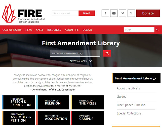 Foundation for Individual Rights in Education (FIRE) launched the First Amendment Library