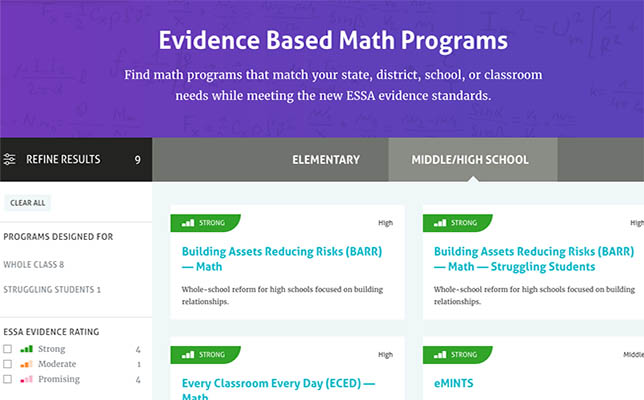 Website Ranks K12 Reading Math Programs Under Essa Standards